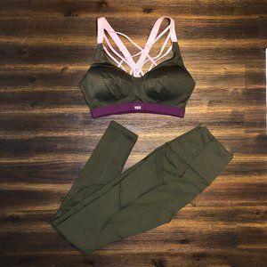 VSX by VS Sports Leggings & Bra Bundle Olive Green